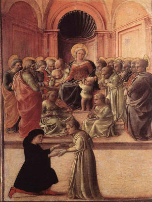 Fra Filippo Lippi. Madonna and child with angels, saints, and praying
