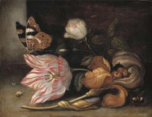 Baltazar van der Ast. Still life with a Tulip, irises, a butterfly and a bumblebee