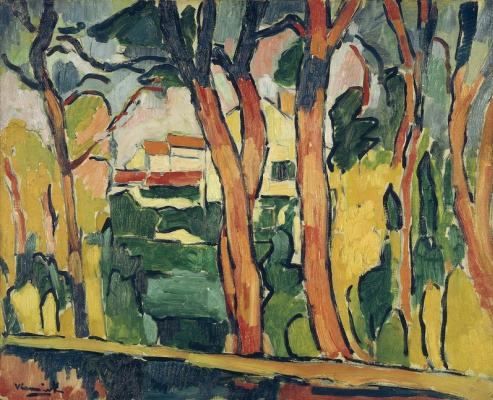 Maurice de Vlaminck. Landscape with red trees