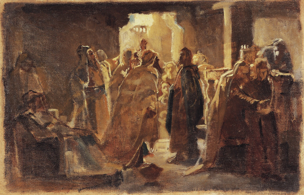 Nikolai Nikolaevich Ge. Christ in the synagogue. The sketch of the unfinished painting