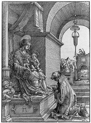 Albrecht Altdorfer. A priest praying before the Madonna