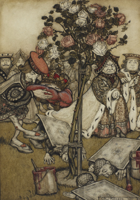 "Arthur Rackham. In the rose garden. Illustration for the fairy tale ""Alice in Wonderland"""