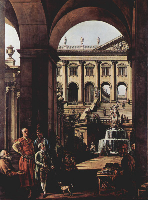 Джованни Антонио Каналь (Каналетто). Каприччио, дворцовые ворота, лоджия и большой фонтан в Войода Потоки