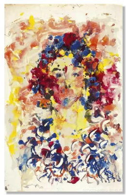 Anatoly Zverev. Portrait of a young man. Tachisme, abstract expressionism. 1961