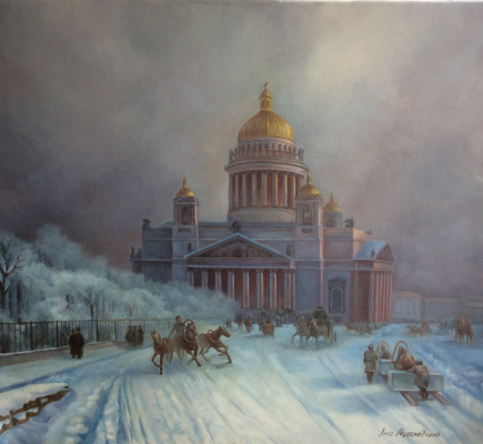 Anna Mukhamedchina. St. Isaac's Cathedral in a winter day. A free copy of the picture by Aivazovsky