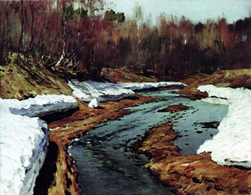 Isaac Levitan. Spring. The last snow