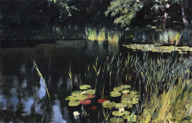Isaac Levitan. Sedge and water lilies