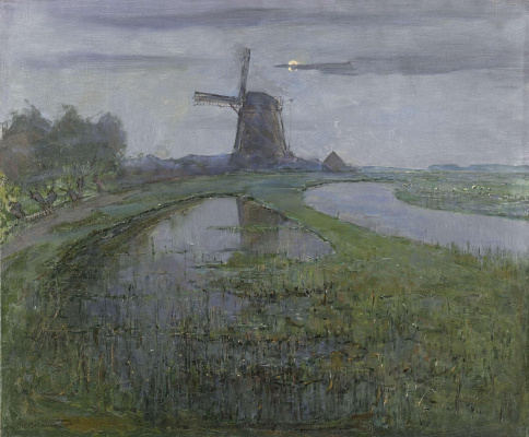Piet Mondrian. The mill on the Rhine river at midnight
