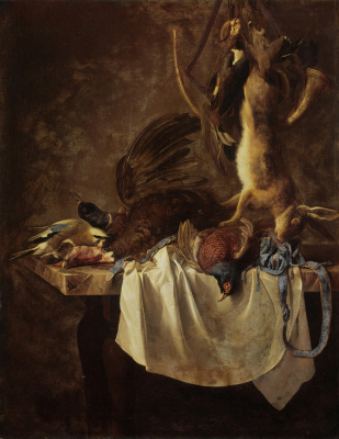 Willem van Aelst. Still life with hare, pheasant and hunting accessories