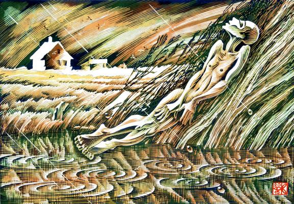 """Vladimir Kataev. """"Birthday of a mosquito-4"""", X3/M, A/R, 45 X 65 cm, 2015"""