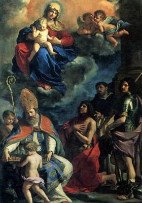 Джованни Франческо Гверчино. Мадонна с младенцем и святыми покровителями города Модены