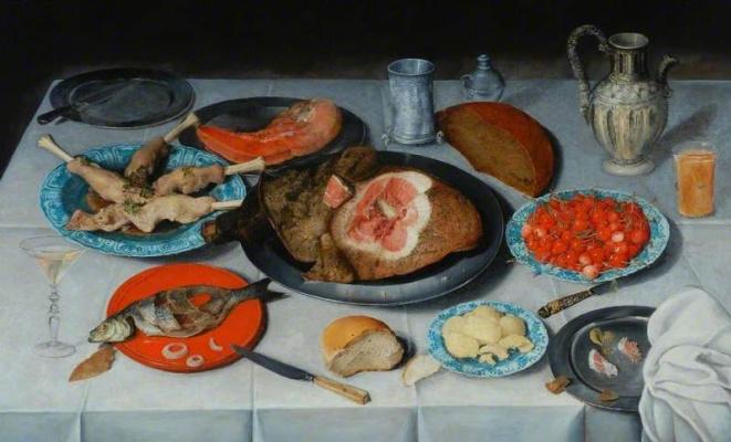 Jakob van Hülsdonk. Breakfast piece with a fish ham and cherries