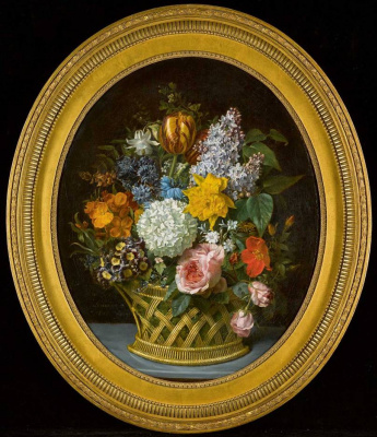 Mari-Victoire Lemoine. Still Life of Spring Flowers in a Basket