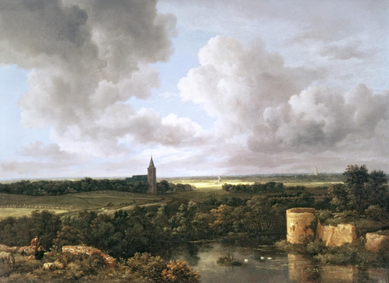 Jakob van Isaacs Ruisdael. Landscape with ruined castle and village church