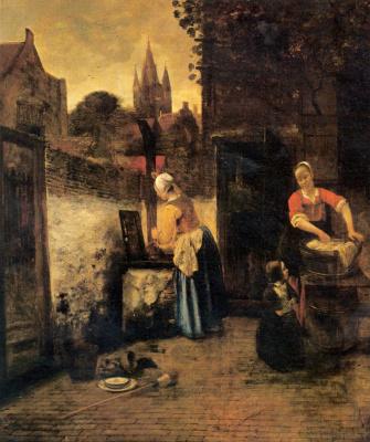 Pieter de Hooch. Two women with a child in the yard