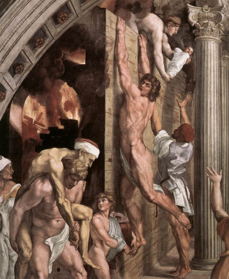 Raphael Sanzio. Stanza del Incendio di Borgo. The fire in the Borgo. Fragment
