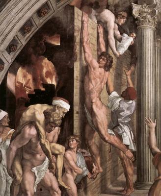 Raphael Sanzio. Stanza del Incendio di Borgo. The fire in the Borgo. Fragment