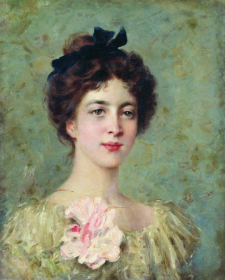 Konstantin Makovsky. Portrait of a young girl with pink bow
