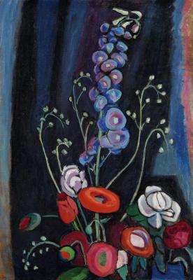 Gabriele Münter. Summer flowers on a black background