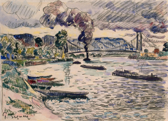 Paul Signac. Suspension bridge or Barge and tugboat on the river