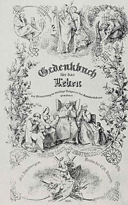 """Адольф фон Менцель. """"Альбом для увековечения памяти о важных событиях семейной жизни"""", Фронтиспис"""