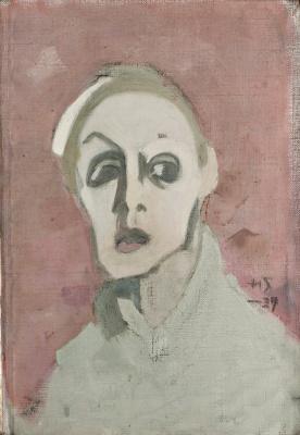 Helena Sophia Scherfbek. Self portrait on pink background
