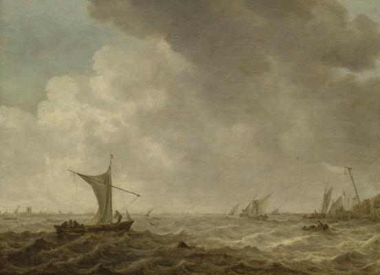 Ян ван Гойен. Малые суда в штормящем море