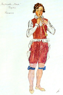 "Alexander Yakovlevich Golovin. A sketch of a man's suit for Pastorals ""may Queen"" to music by C. W. Gluck"