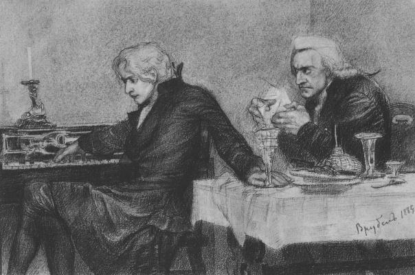 """Михаил Александрович Врубель. Сальери всыпает яд в бокал Моцарта. Иллюстрация к драме А.С. Пушкина """"Моцарт и Сальери"""""""