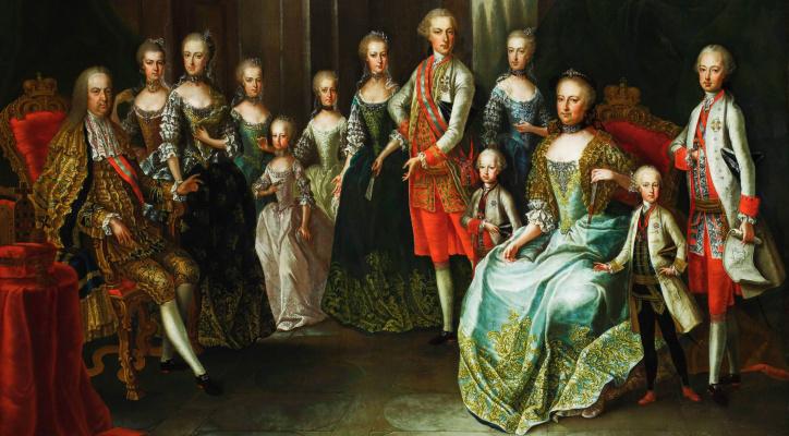 Franz von Fahrenheon. Portrait of the Empress Maria Theresa with the family