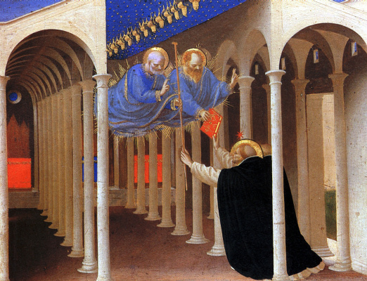 "Fra Beato Angelico. Saints Peter and Paul are Saint Dominic. Preamble of the altar of San Domenico ""Coronation of the Virgin"""