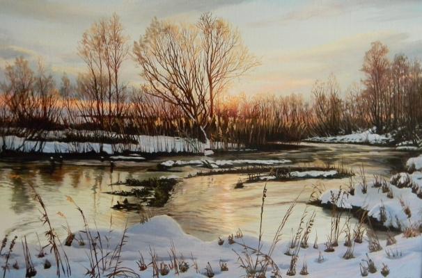 Юрий Александрович Зосич. Рассвет на речке зимой