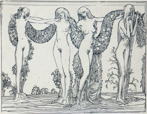 Ernst Fuchs. Nymphs. Allegory of the four seasons