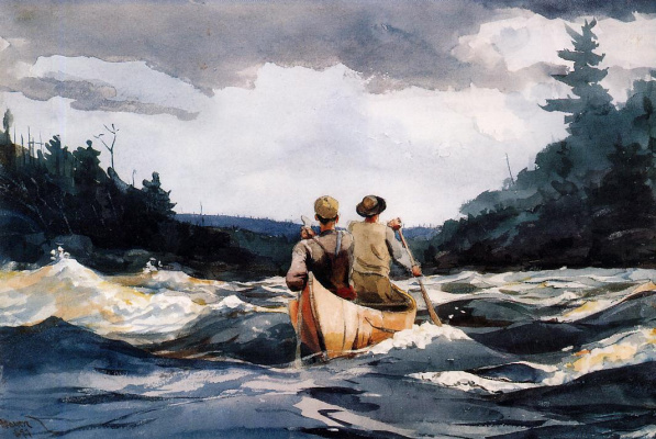 Winslow Homer. Canoeing on the rapids