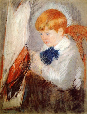 Mary Cassatt. Robert with a model sailboat