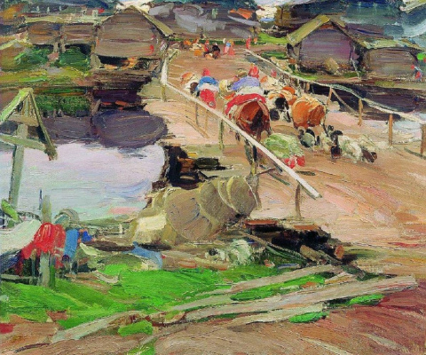 Abram Arkhipov. Morning in the village. Bridge