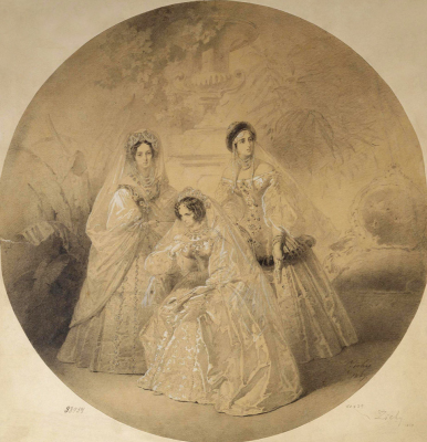 Mikhail Alexandrovich Zichy. Portrait of Empress Maria Alexandrovna, Empress Dowager Alexandra Feodorovna and Grand Duchess Alexandra Joseph. State Hermitage, St. Petersburg.