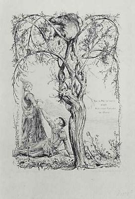 """Адольф фон Менцель. Иллюстрация к стихотворению Анастазия Грюна """"Ива"""""""