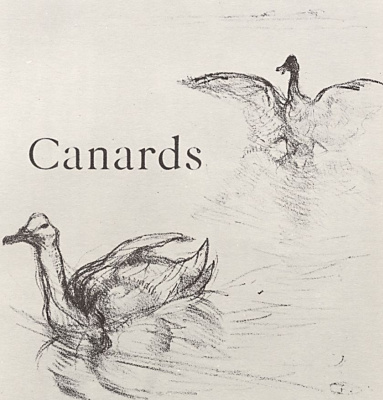 """Henri de Toulouse-Lautrec. The illustration to the writing of Jules Renard's """"Natural history."""" Duck"""