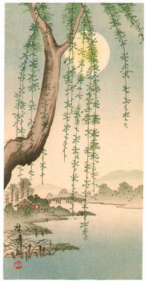 Utagawa Hiroshige. Weeping willow in the background of the full moon