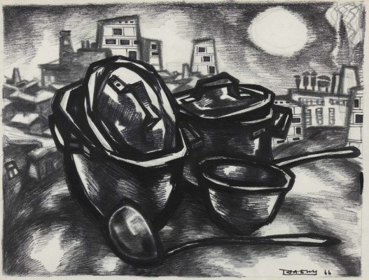 Oscar Yakovlevich Rabin. Pots and kettles, and the city