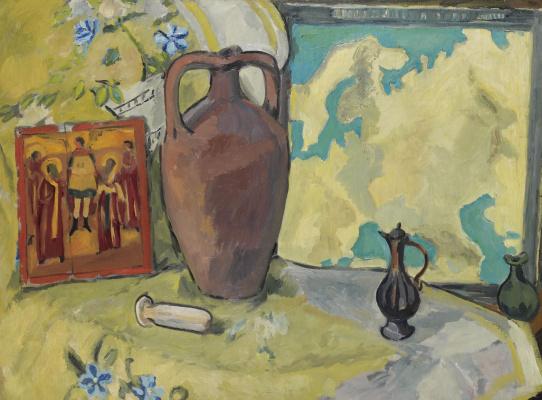 Михаил Федорович Ларионов. Натюрморт с кувшином и иконой