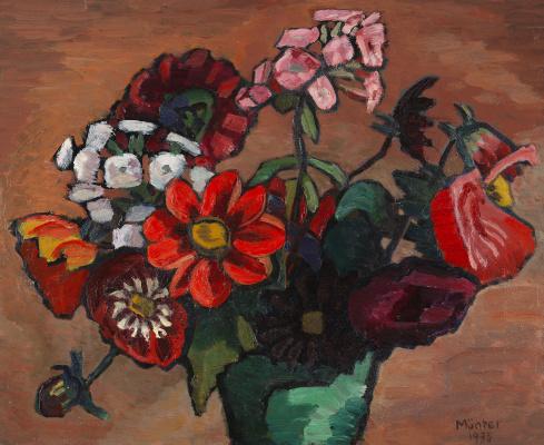 Габриель Мюнтер. Натюрморт с красными цветами