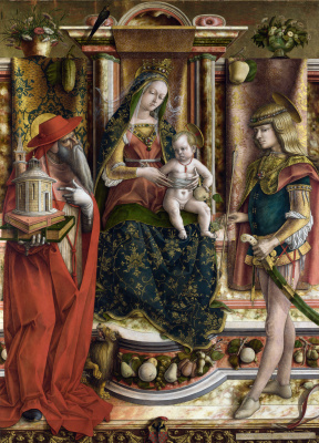 Carlo Crivelli. Mary enthroned, St. Jerome and St. Sebastian. The altar of the family, Odoni, the Central part