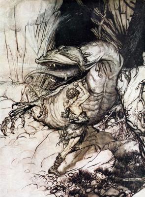 Arthur Rackham. Siegfried and Sumerki gods