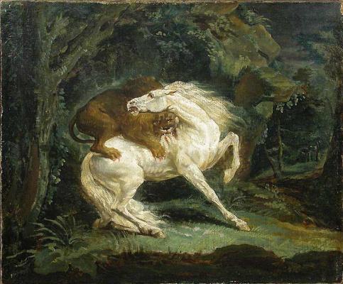 Théodore Géricault. Lion attacking horse