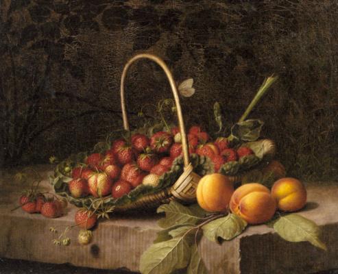 Уильям Хаммер. Корзина с клубникой и персики