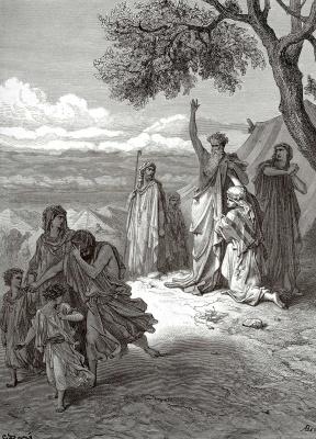 Paul Gustave Dore. Bible illustrations: Noah curses Ham