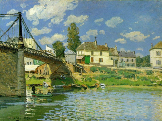 Alfred Sisley. The bridge at Villeneuve-La-Garenne