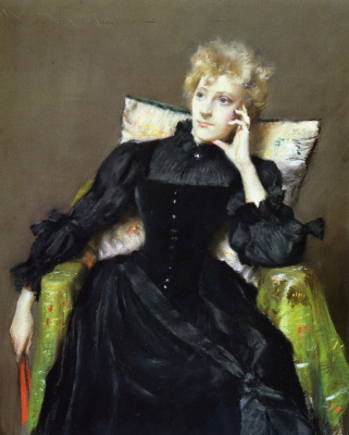 William Merritt Chase. Seated woman in black dress